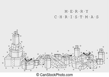 Christmas holiday card background. Collection of gift boxes in doodle style. Hand drawn design