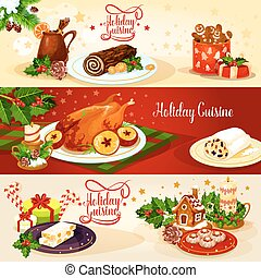 Christmas holiday cuisine banner for menu design