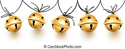 Christmas holiday decoration garland of golden jingle bells.