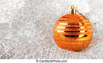 Christmas holiday decoration with gold ball