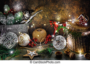Christmas holiday decoration with shining star