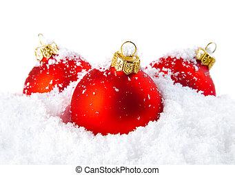christmas holiday, dekoráció, noha, white hó, és, piros, golyózás
