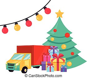 Christmas holiday delivery car with gift box. Internet logistic concept. Vector flat cartoon graphic design isolated illustration concept