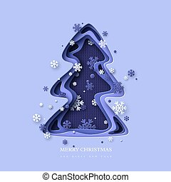 Christmas holiday design. Paper cut Christmas tree with snowflakes. 3d layered effect and knitted background in blue colors, vector illustration.