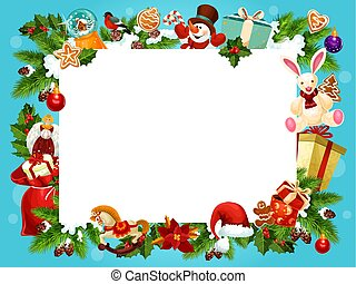 Christmas holiday frame for greeting card design