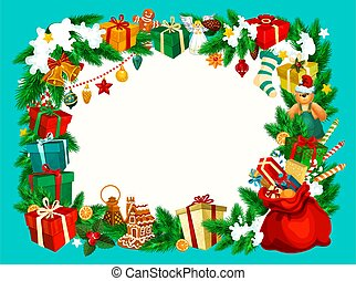 Christmas holiday frame with blank space