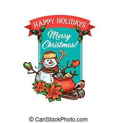 Christmas holiday gift and snowman sketch card