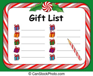 Christmas Holiday Gift List, Peppermint Candy Cane Frame