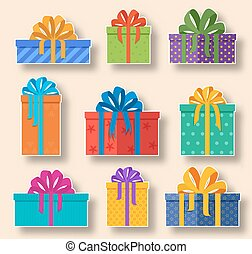 Christmas holiday gift stickers set on a light background....