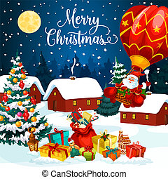 Christmas holiday gifts on snow greeting card
