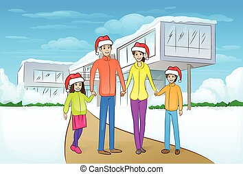christmas holiday happy family in front of modern house winter snow