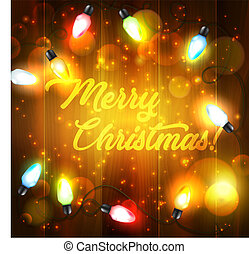 Christmas holiday lights on wooden background