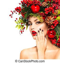 Christmas holiday makeup and manicure closeup