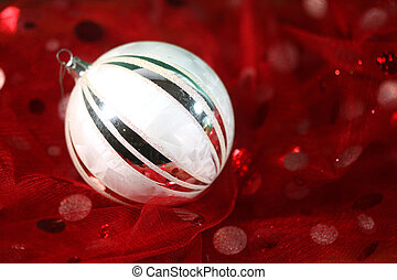 Holiday Ornament on Festive Fabric