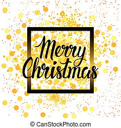 Christmas Holiday Poster On White Background With Yellow Paint Splash New Year Decoration Design