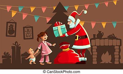 Christmas holiday. Santa Claus and kids