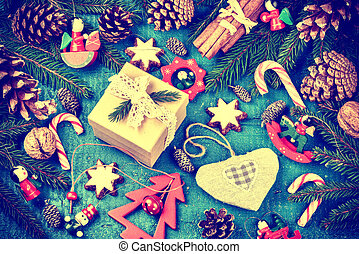 Christmas holiday setting with present and festive decorations in vintage style