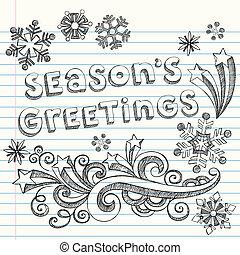 Season's Greetings Winter Snowflakes Sketchy Notebook Doodles- Vector Illustration Design Elements on Lined Sketchbook Paper