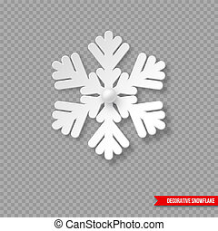 Christmas holiday snowflake with shadow and pearls. Decorative 3d element fow New Year design. Isolated on transparent background, vector illustration.