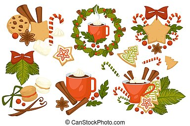 Christmas holiday symbols, cookies and hot drinks vector. Cinnamon and candy lollipop, mistletoe and berries, bells decorated with bow ribbon. Mug with warm coffee beverage, pasty with ginger