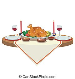holiday table with turkey