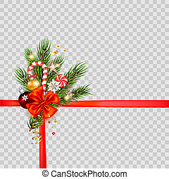 Christmas holiday template - Green fir tree branches on...