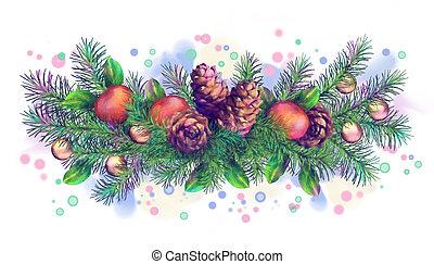 Christmas Holiday Watercolor Border Garland