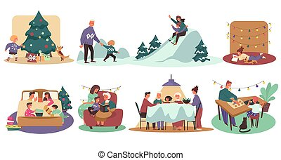 Christmas holiday, wintertime and family, playing outdoors and celebrating