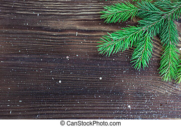 Christmas holiday wooden background with copy-space