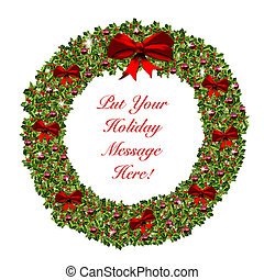 Christmas Holiday Wreath Stationary - Red and Green...