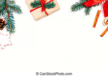 Christmas holidays  background with festive decorations and gift boxes on white  wooden board with copy space for your text
