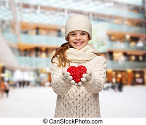 dreaming girl in winter clothes with red heart - christmas,...