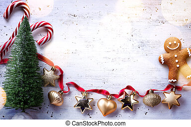 Christmas holidays composition on white wooden background; Christmas tree decoration and copy space for your text