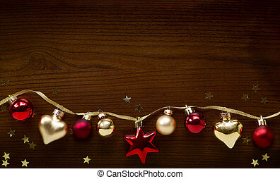 Christmas holidays composition on wood background with copy...