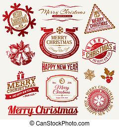 Christmas holidays emblems & labels