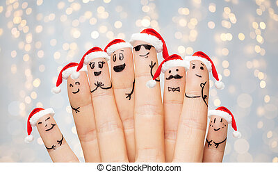 fingers with smiley faces and santa hats - christmas,...