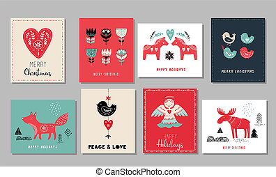Christmas holidays greeting cards in Scandinavian style
