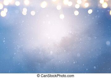 Christmas holidays lights on Winter snow sky background