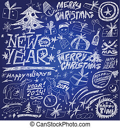 Christmas holidays , New Year - doodles set