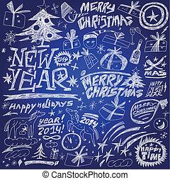 Christmas holidays , New Year - doodles set
