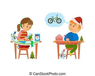 Christmas Holidays of Kids Making Handicraft Gift