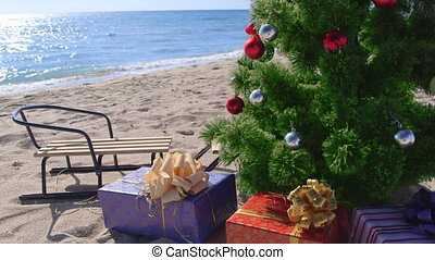 Christmas holidays on the beach resort background