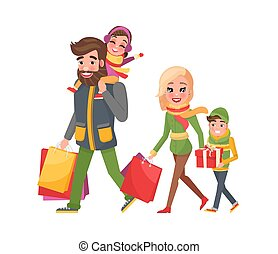 Christmas Holidays Shopping, Happy Family Together