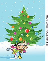 Christmas Holidays - The illustration shows a boy and girl...