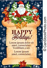 Christmas holidays vector New Year greeting card