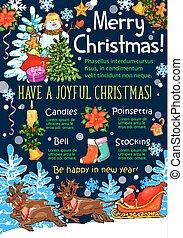 Christmas holidays vector New Year greeting sketch