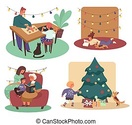 Christmas holidays with family, cooking and reading, Xmas tree