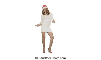 Christmas Holidays young attractive woman dancing on white background