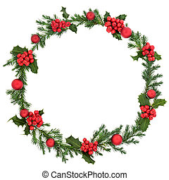 Christmas Holly and Bauble Wreath
