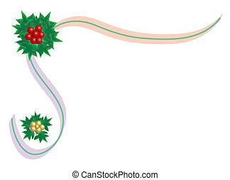 Christmas holly and bow border